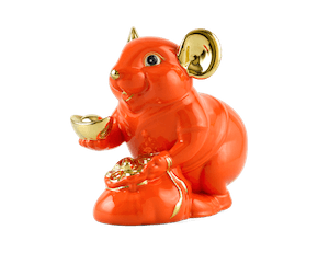 Wealth 20 cm – Sculpture - Gold Lined Orange Mouse
