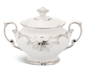 Sugar bowl 10 cm + lid - Queen Decorated platinum