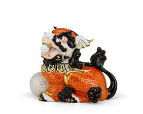Kylin 24 cm (right) - Sculpture - Orange (gold line)