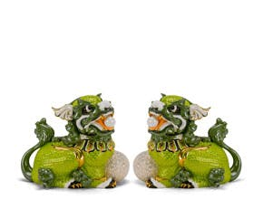 Couple of Kylins 24 cm - Sculpture - Green/concha