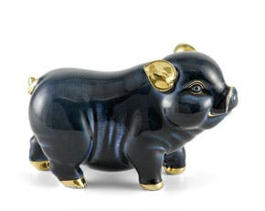 Prosperity 15 cm - Sculpture - Gold Lined Black Piggy