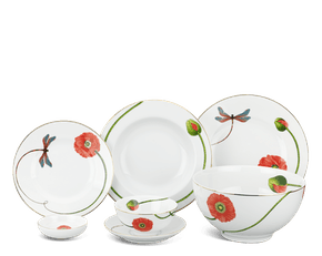 Set of 49 pcs + souptureen (for 10 persons) - Camellia - Eternal love