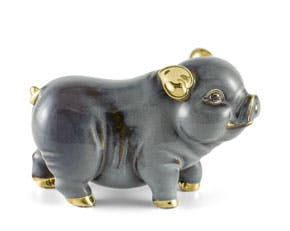 Prosperity 15 cm - Sculpture - Gold Lined Grey Piggy