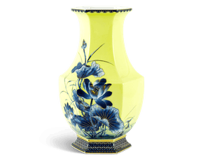 Emerging Fortune Yellow Lotus Hexagon Vase 28 cm