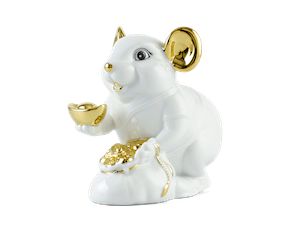 Wealth 13 cm – Sculpture - Gold Lined White Mouse