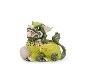 Kylin 18.5 cm (right) - Sculpture - Green/concha (gold line)