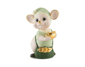 Precious 16 cm – Sculpture - Gold Lined emerald green Mouse (Matt color)