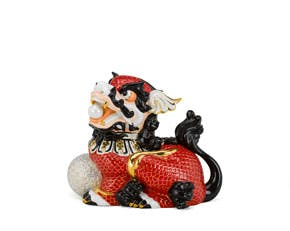 Kylin 18.5 cm (right) - Sculpture - Red/concha (gold line)