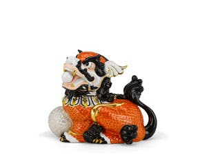 Kylin 18.5 cm (right) - Sculpture - Orange (gold line)