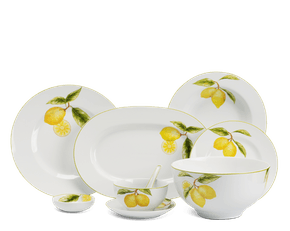 Set of 49 pcs + souptureen (for 10 persons) - Camellia - Lemon