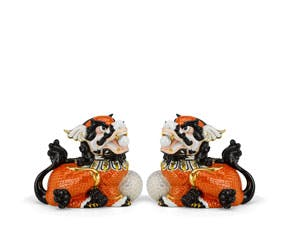 Couple of Kylins 18.5 cm - Sculpture - Orange/concha
