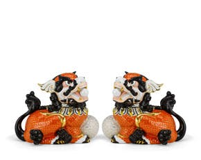 Couple of Kylins 24 cm - Sculpture - Orange/concha