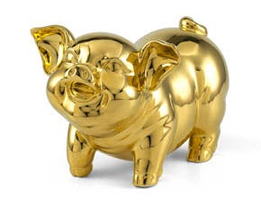 Blooming Fortune 24.5 cm - Sculpture - Gold Plated Piggy