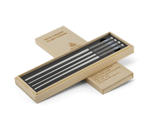 Porcelain Chopsticks 24.4 cm (02 pairs/box) - Gold-lined blue 4 - Wood box