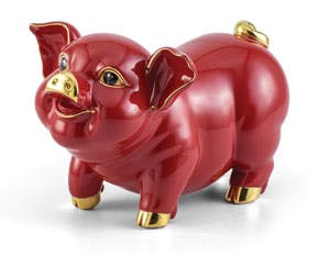 Blooming Fortune 24.5 cm - Sculpture - Gold Lined Red Piggy