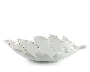 Fruit Plate - Breadfruit leaves 42.5 cm (Gold line)