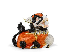 Kylin 24 cm (left) - Sculpture - Orange (gold line)