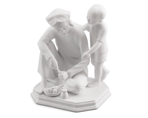 The love of my grandmother - Sculpture - White
