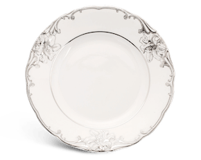 Round plate 27 cm - Queen Decorated platinum